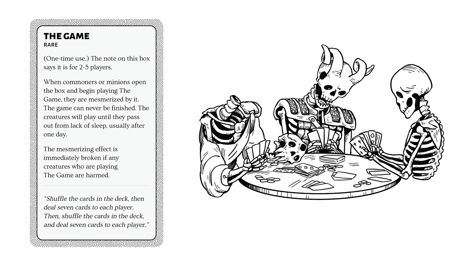 A group of skeletons sit around a table, playing an endless card game.