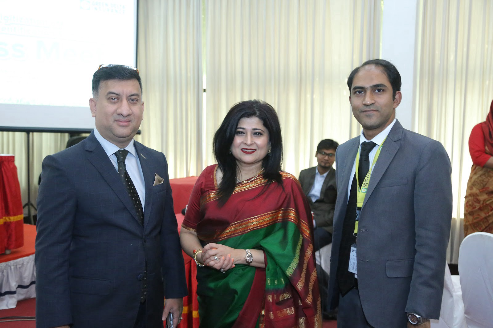 Syed Moinuddin Ahmed, Addl. MD & Co. Sec. with Ms. Chowdhury and Ali Tareque Parvez, Deputy Senior VP, Underwriting Mgt. Dept