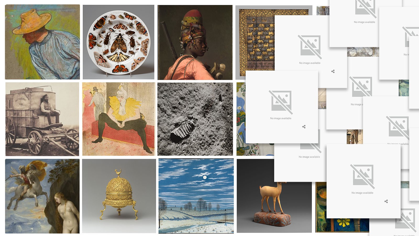 """A series of permanent collection images from various museums, eventually eclipsed by """"No Image Available"""" icons"""