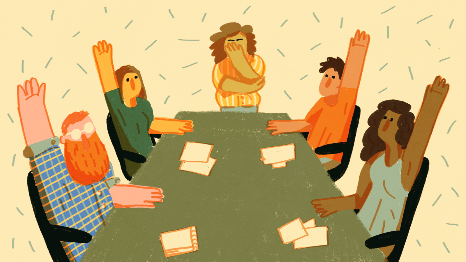 A group of people at a conference table, raising their hands while a frustrated leader palms their face.