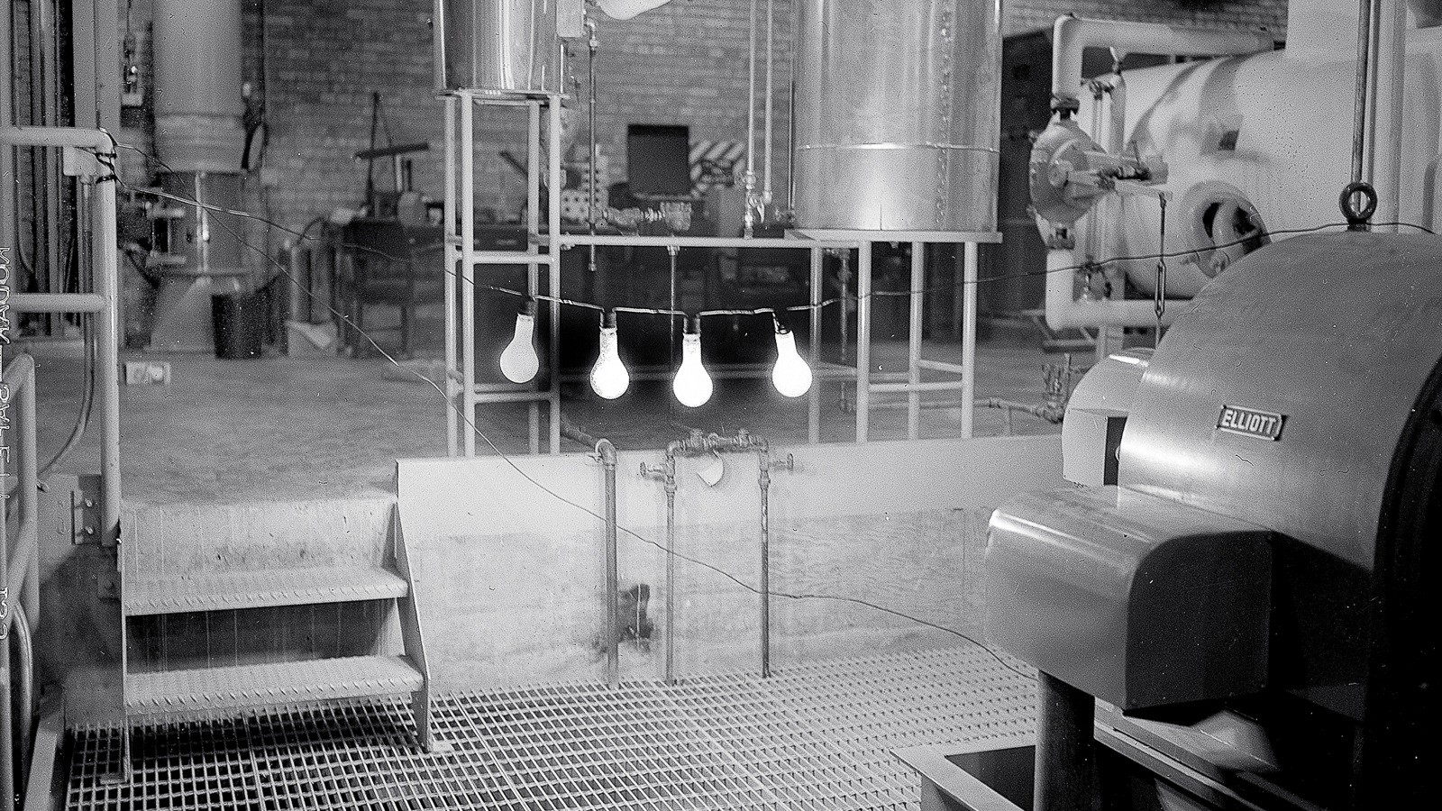 On December 20, 1951, the Experimental Breeder Reactor-I became the first power plant to make usable electricity through atomic fission, which powered four 200-watt light bulbs. (Image by Argonne National Laboratory.)