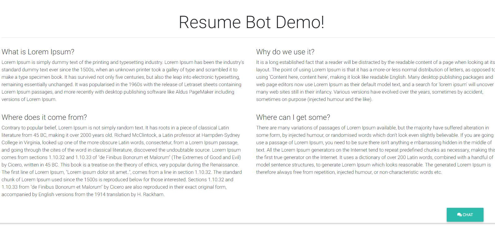 ResumeBot — Develop Serverless Chatbot in minutes for your
