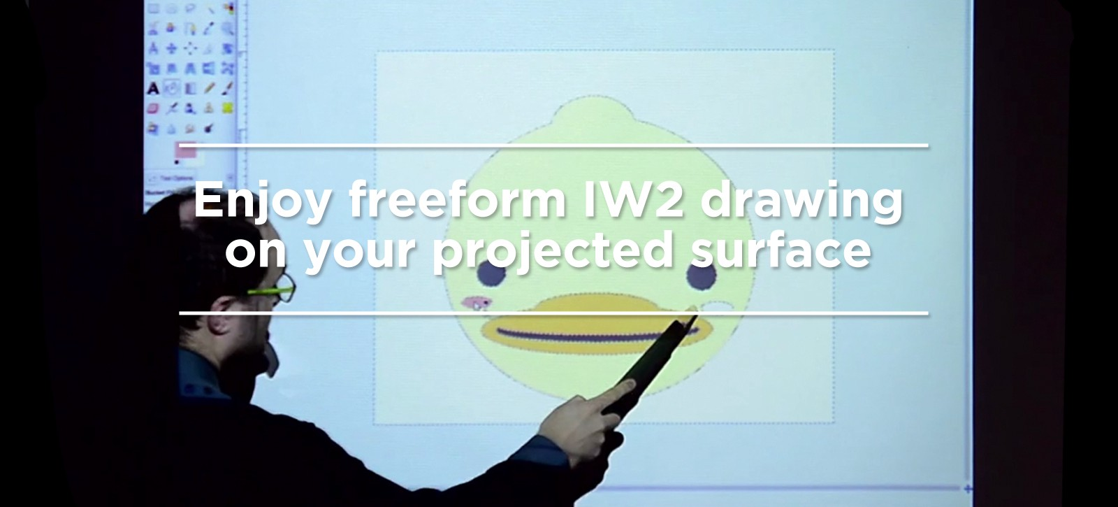 Enjoy freeform IW2 drawing on your projected surface