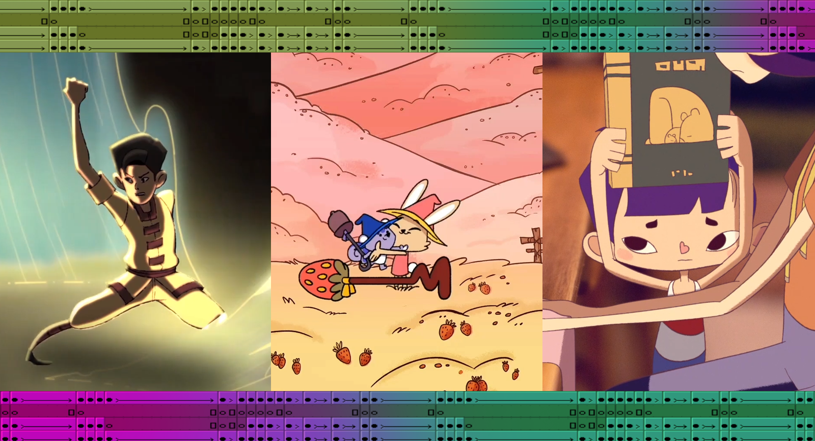 A collage of stills from three animated films featured in Reel Asian's Wee Asian program. The left still from FIRST BORN depicts a young boy performing kung fu in yellow, the middle from TEST FLIGHT depicts a bunny and squirrel character hugging on a field with pink mountains in the background, and the right still from FELT LOVE shows a little boy holding up a book to his mother. On the top and bottom are runners showing animation sequencing programs.