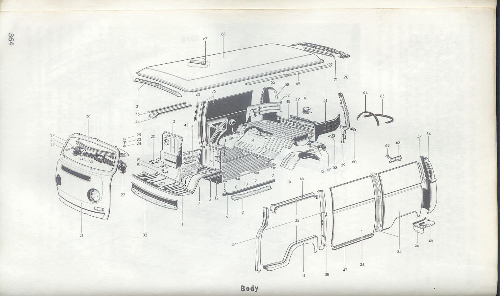 Exploded diagram (aftermarket) of a '68–'71 VW Microbus
