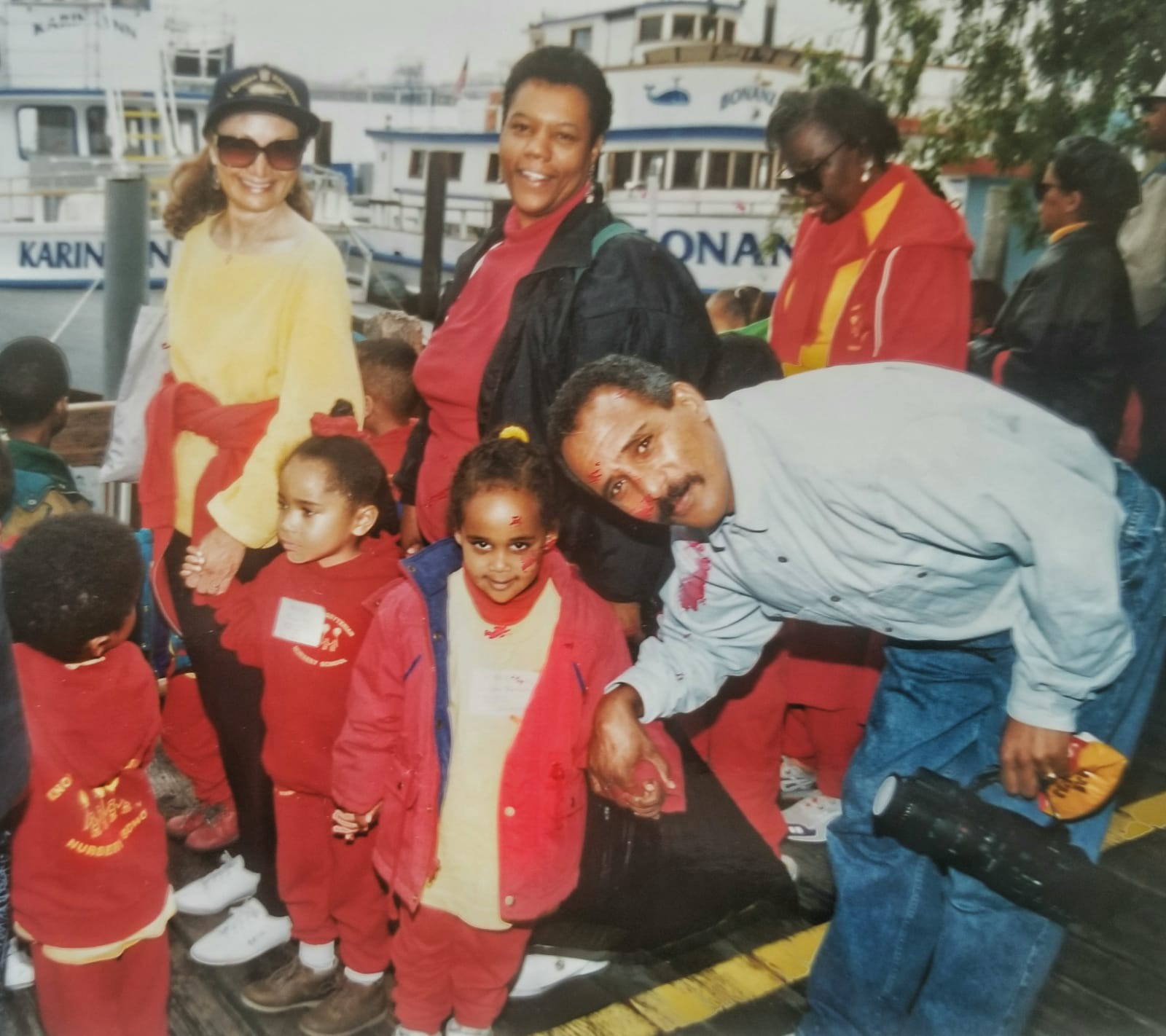 Image Description: Photo of me on a field trip in Long Beach with Uncle Berhe and Teacher Yolanda in 1995