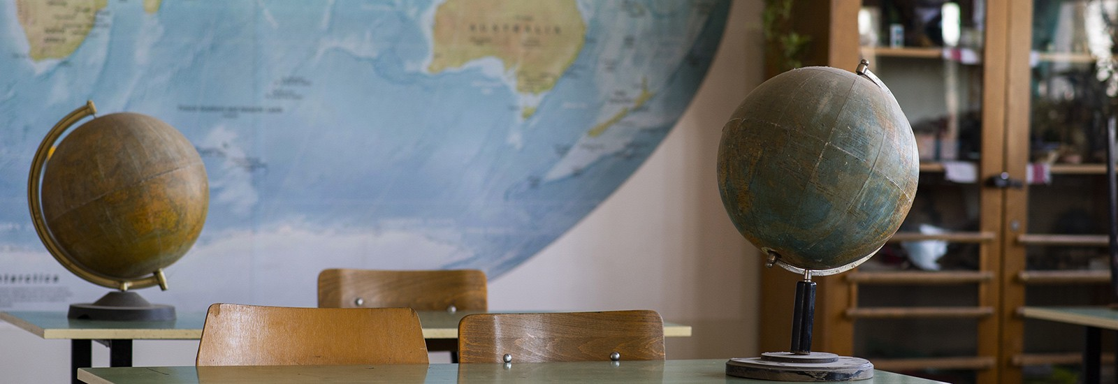 Globes in a school classroom
