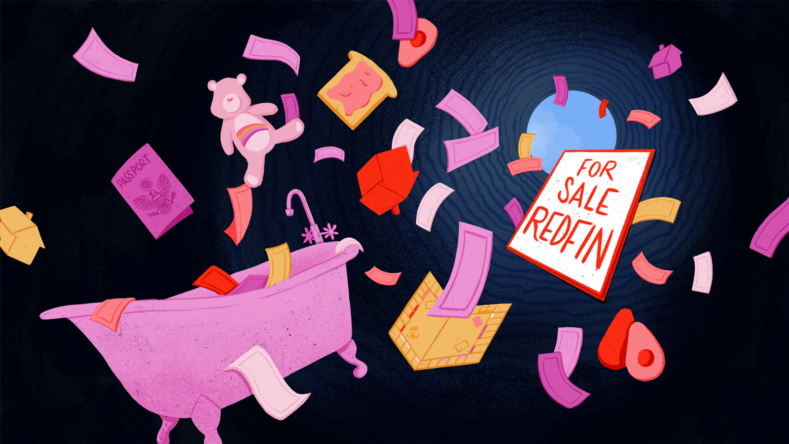 Illustration of pink pieces of paper, a passport, a clawfoot tub, a for sale sign, + a red avocado in a tunnel.
