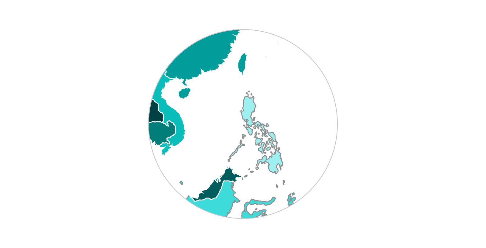 Close up of a light theme map of Southeast Asia region where Philippines islands are outlined in gray-50.