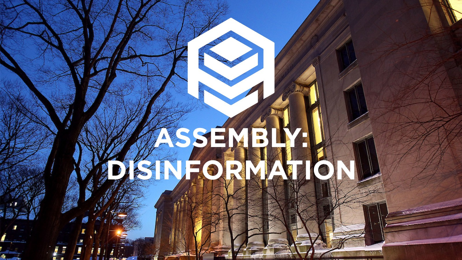 Assembly: Disinformation logo overlayed on Langdell Library