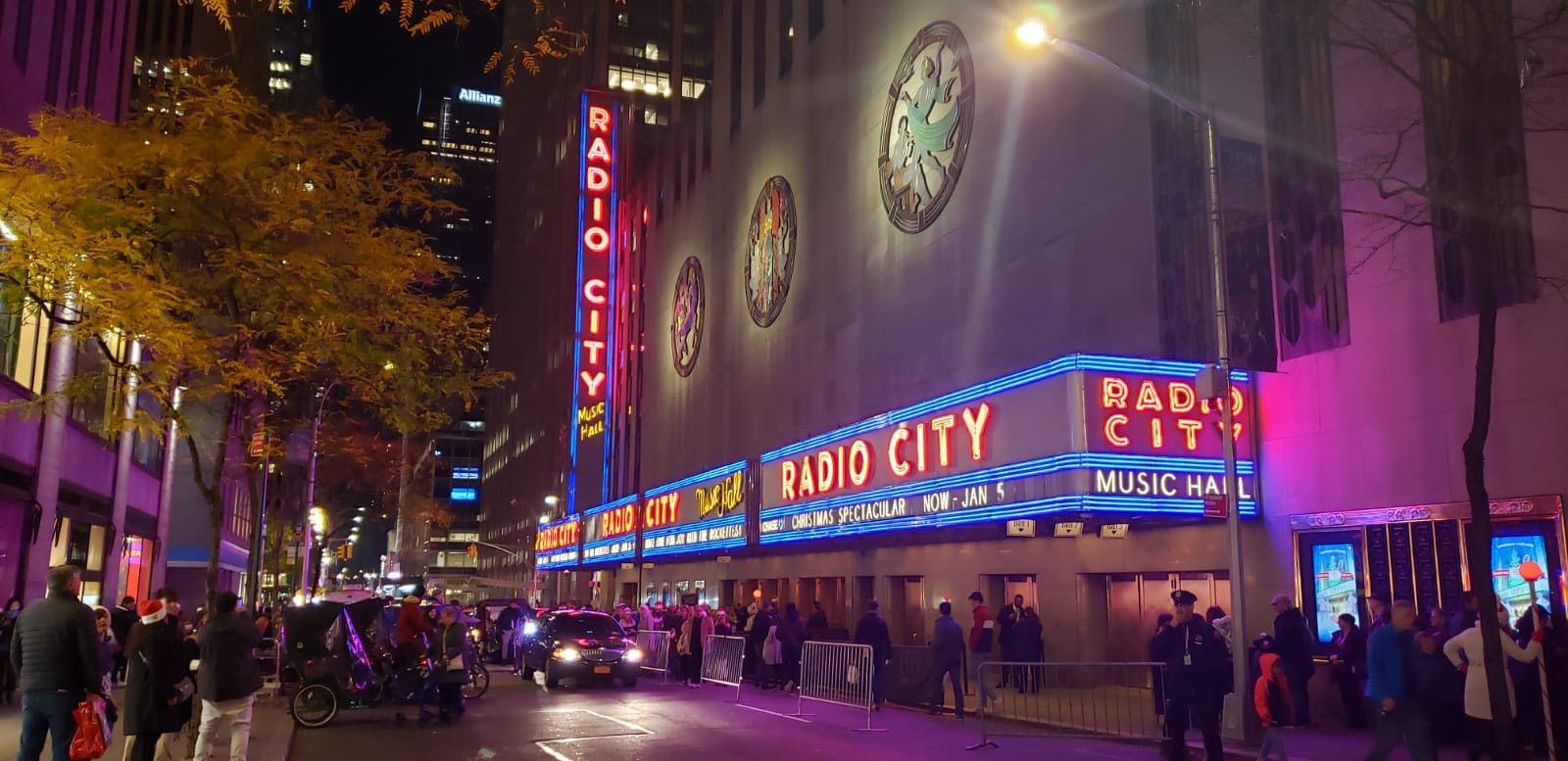 Radio City Music Hall and the Hildreth Meière relief sculptures along the 50th Street facade.