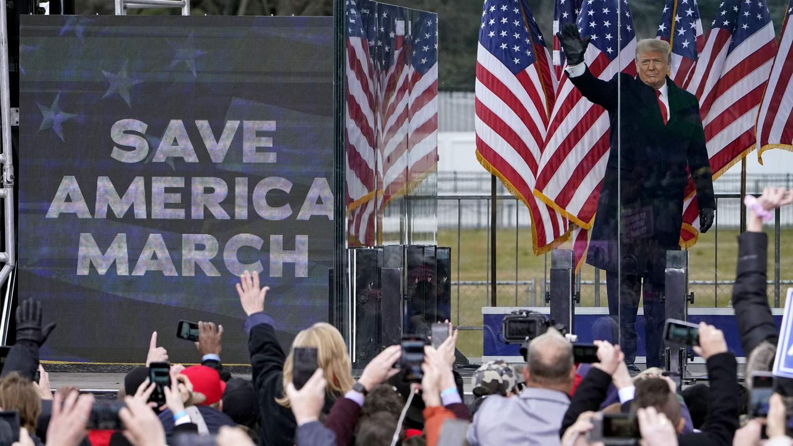 President Trump waves to supporters at the Save America March outside the White House. (AP photo)