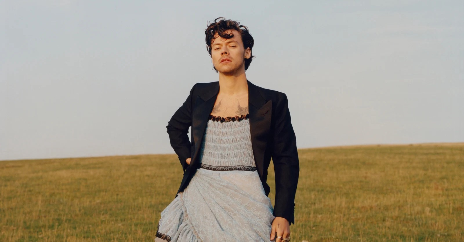 A picture of Harry Styles in a light blue dress from his Vogue photoshoot