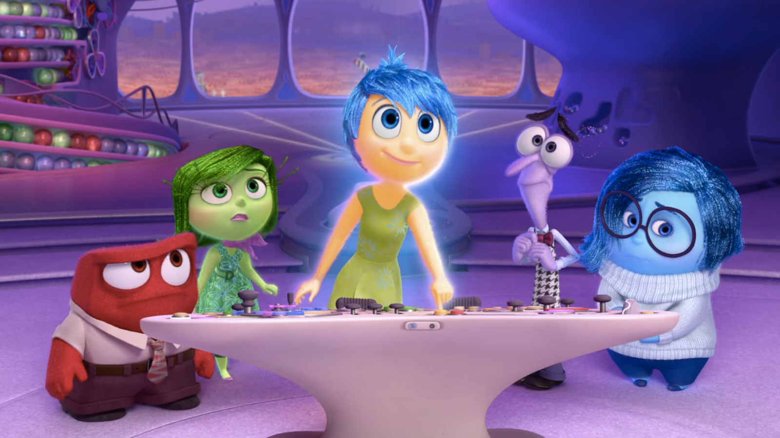 "The characters, Anger, Disgust, Joy, Fear and Sadness from the Disney Pixar Movie ""Inside Out"""