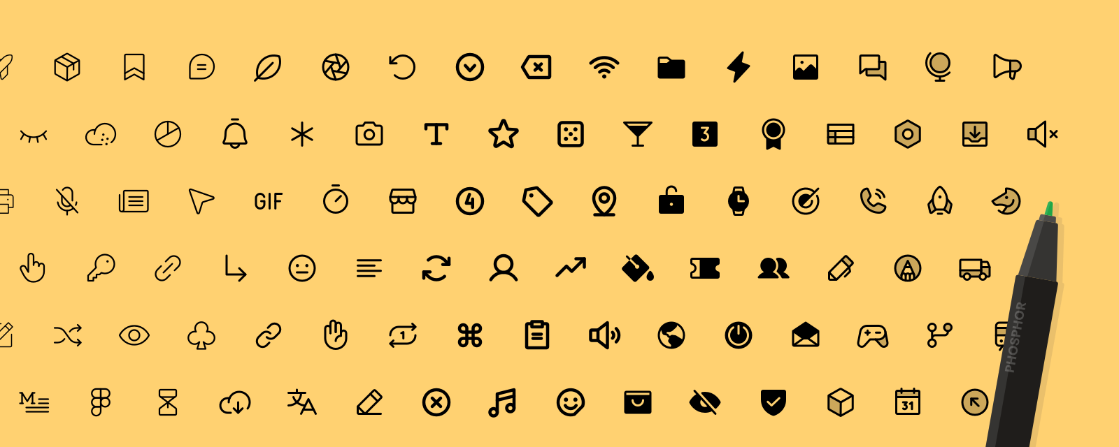 An array of Phosphor Icons from light to bold weights, with a marker resting on the side