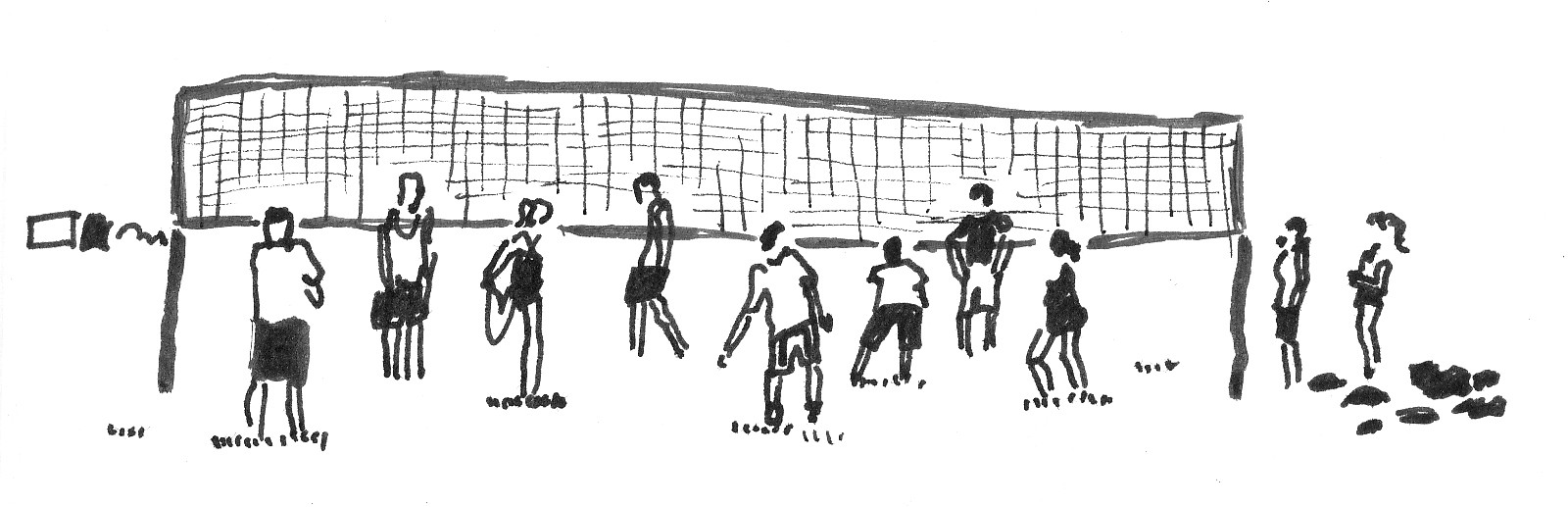 A sketch of people playing volleyball