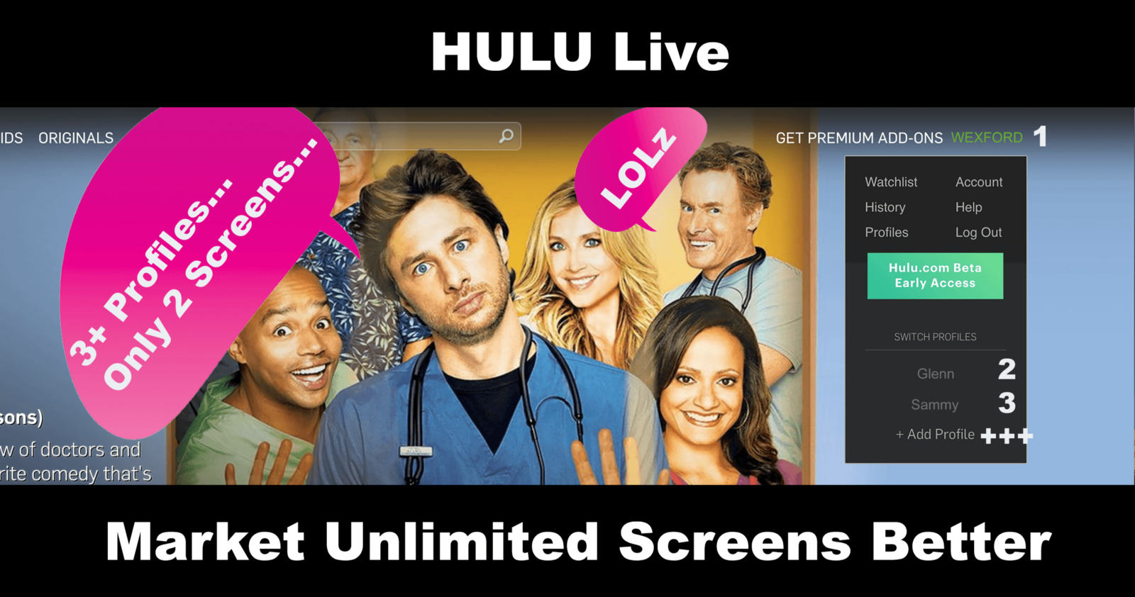 Hulu Live: Market Unlimited Screens Better - Wexford