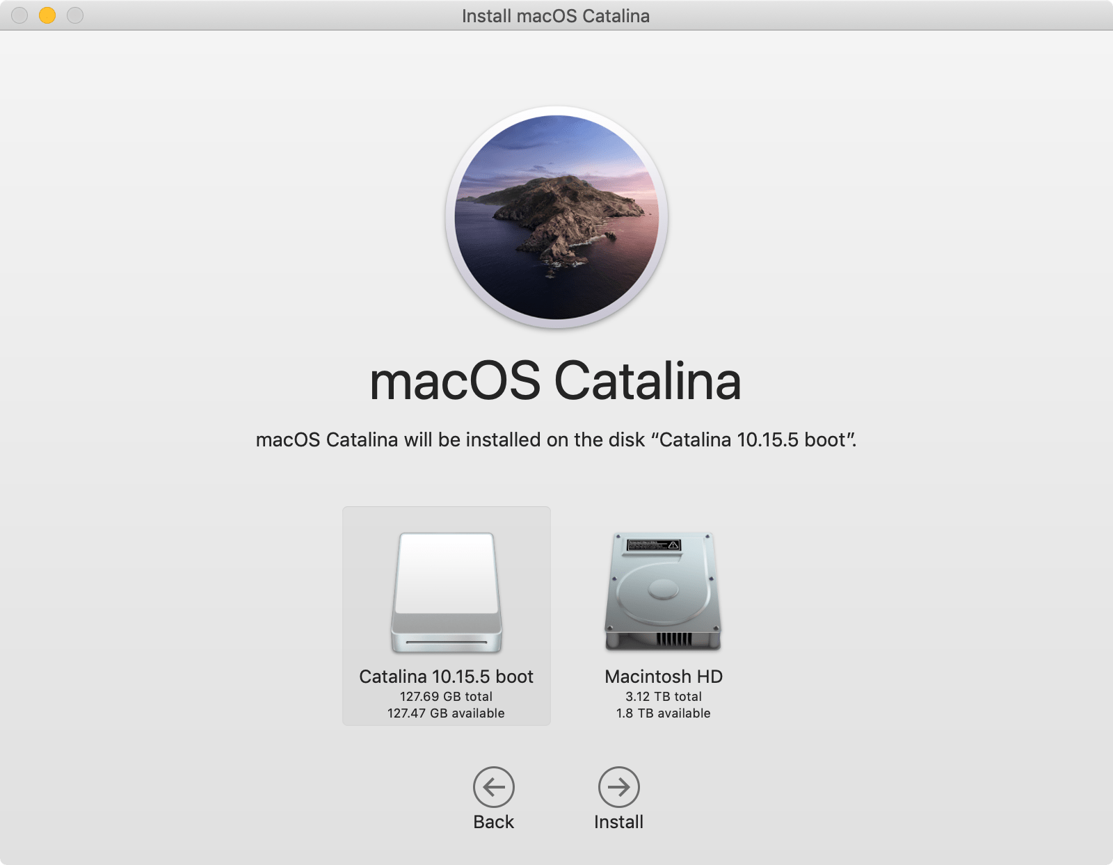 macOS installation: select your new USB bootable disk for the macOS installation.