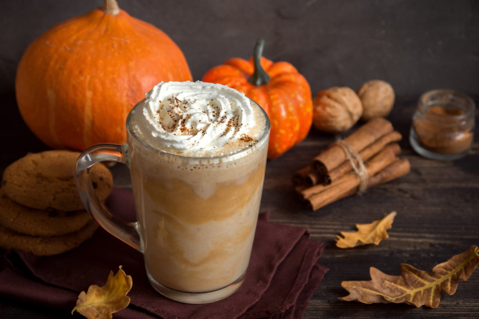 An image of a pumpkin spice latte next to pumpkins, gourds, and cinnamon sticks