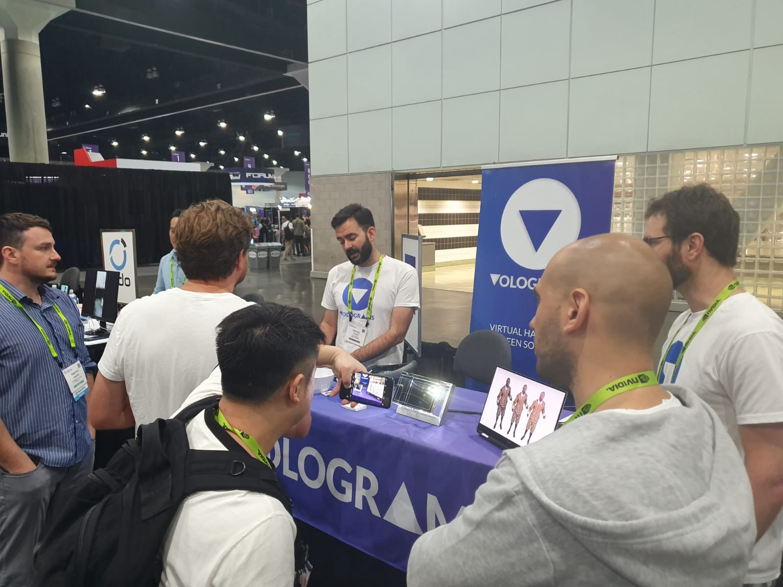 Rafa providing demos for those interested at the Volograms exhibition table