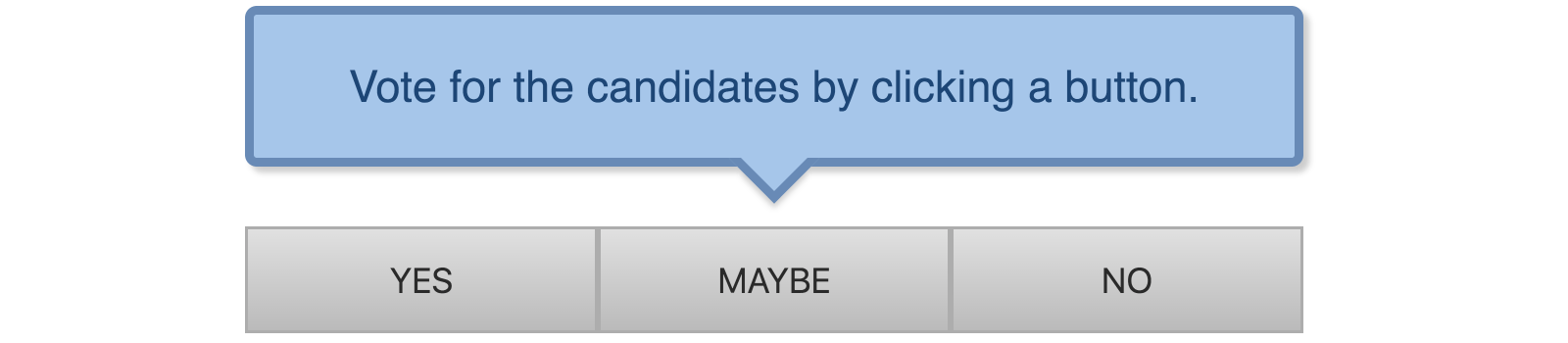 A screenshot of three buttons and a tooltip above them