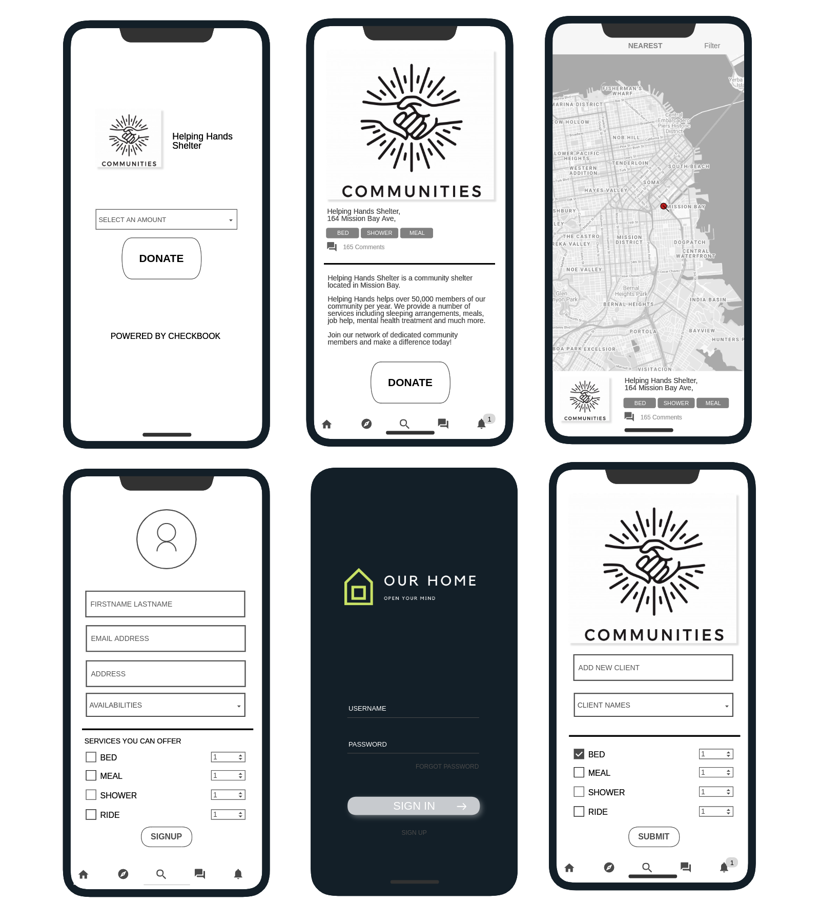Different screens from Our Home, including a map, client information page, etc.