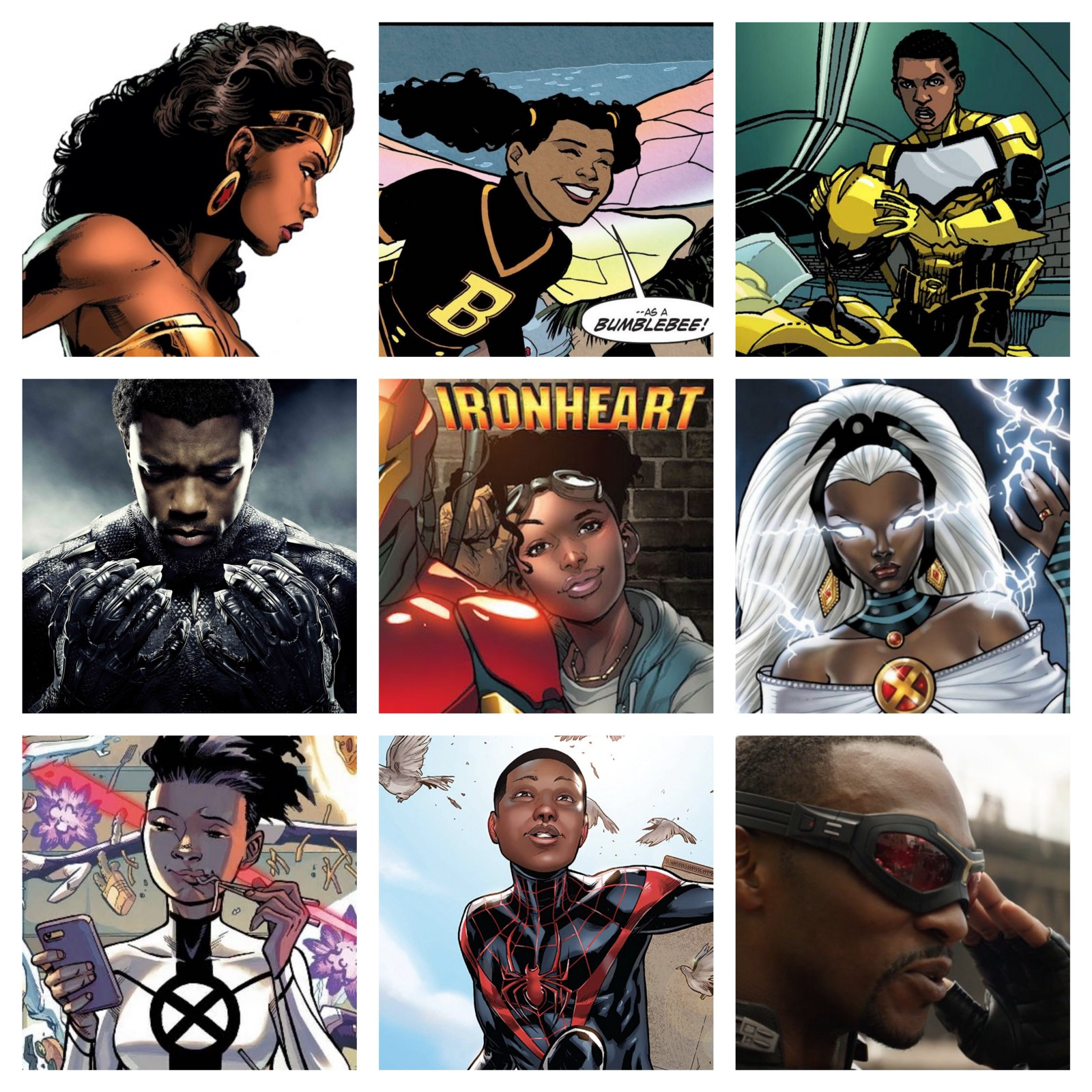 A compilation of Black Comic Book Characters