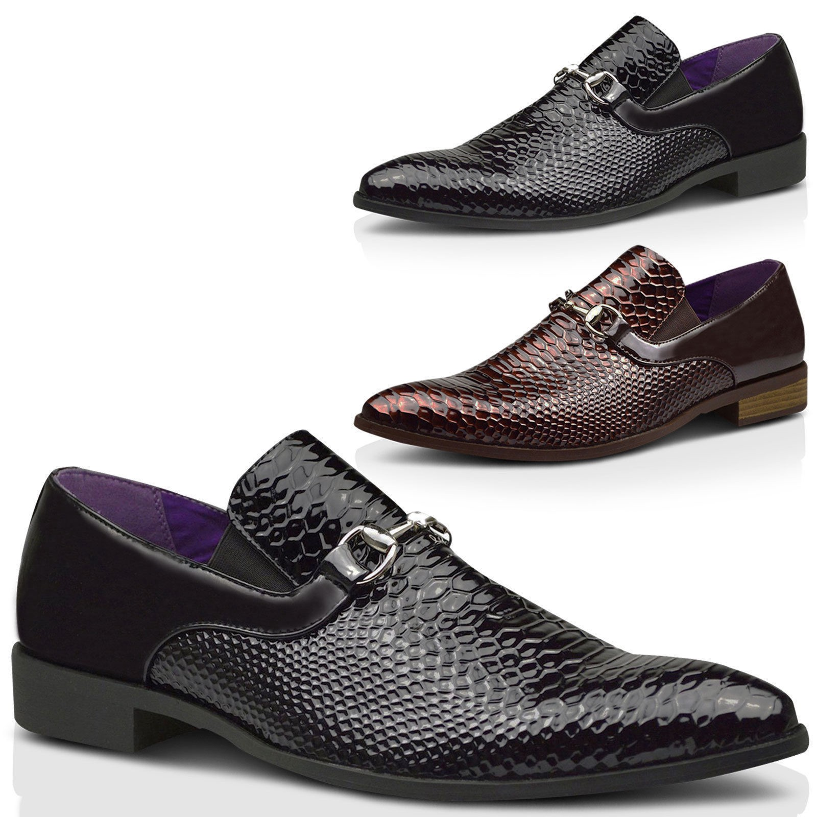 Mens Patent Wedding Shiny Slip On Party Dress Formal Shoes