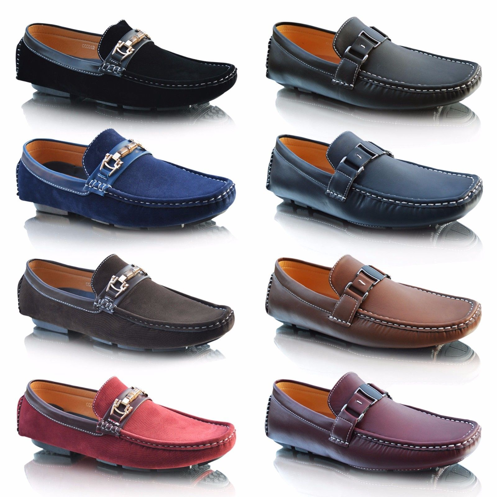 Mens New Casual Leather Loafer Flats Slip On Suede Moccasins Boat Driving Shoes By Blue Chip Gravity Medium