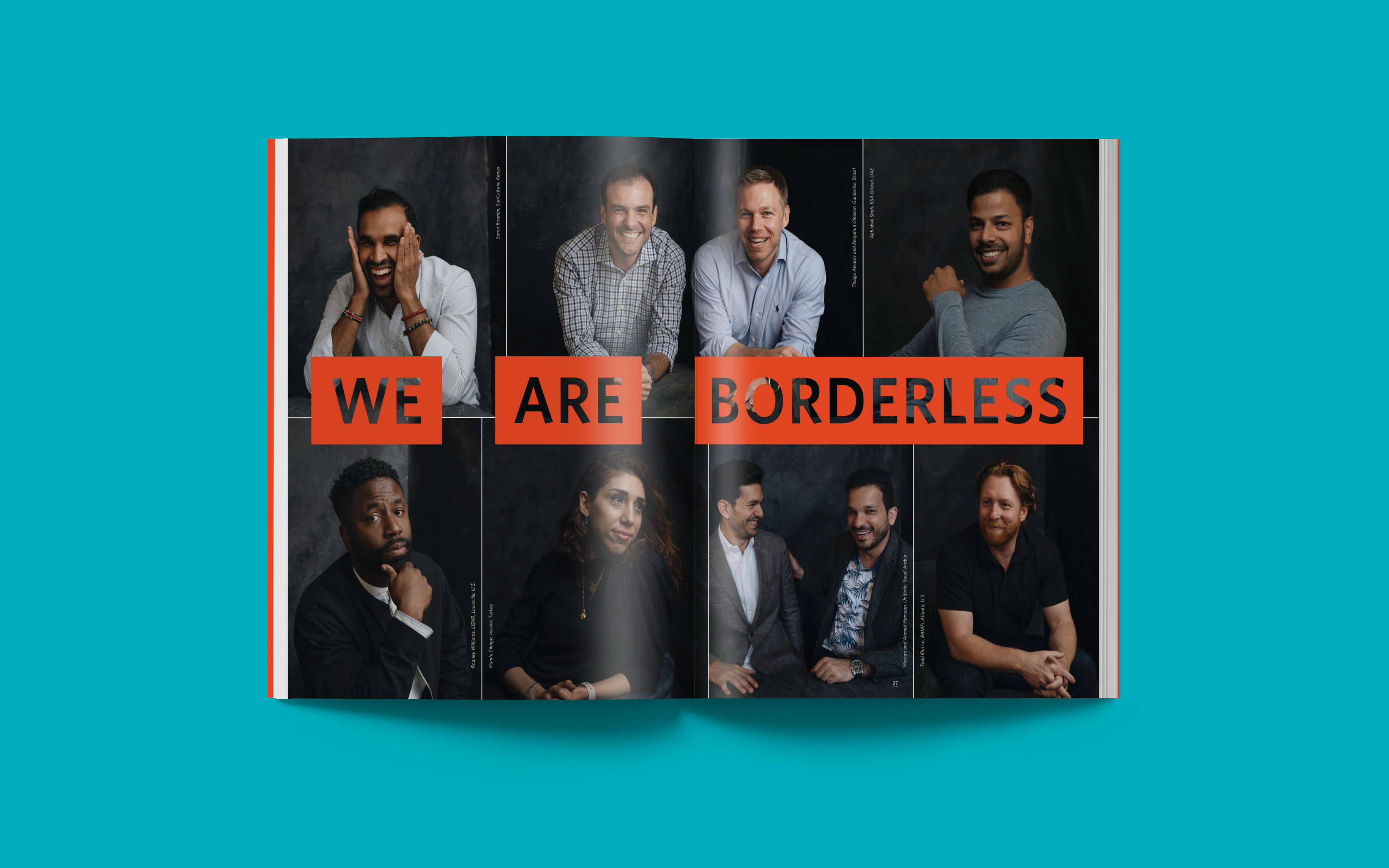 "A spread from Endeavor's 2019 Impact Report with eight photos of entrepreneurs, reading ""We Are Borderless"""