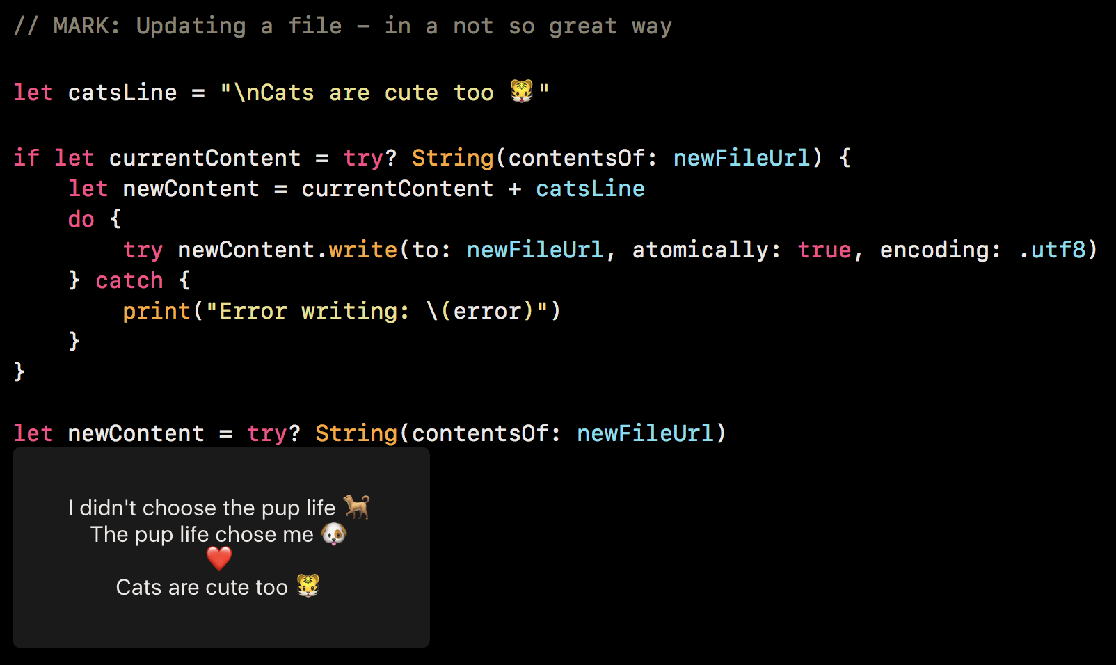 Read Write and Delete — File Handling from XCode Playground