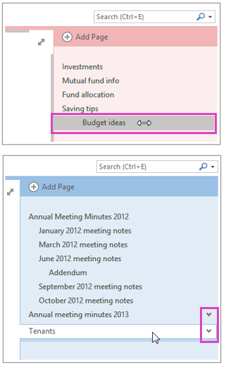 OneNote pages list