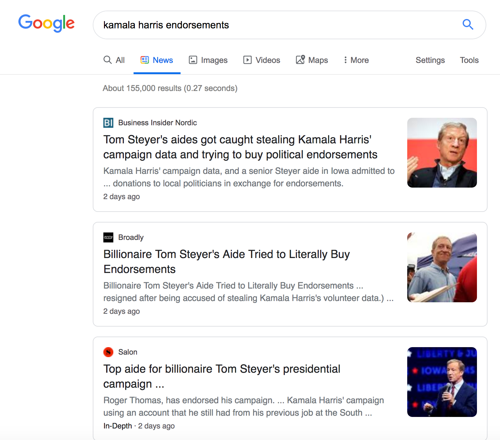 "A Google search for ""Kamala Harris endorsements"". The results are all about Tom Steyer, with pictures - so all the pictures on the pager are of white guys"