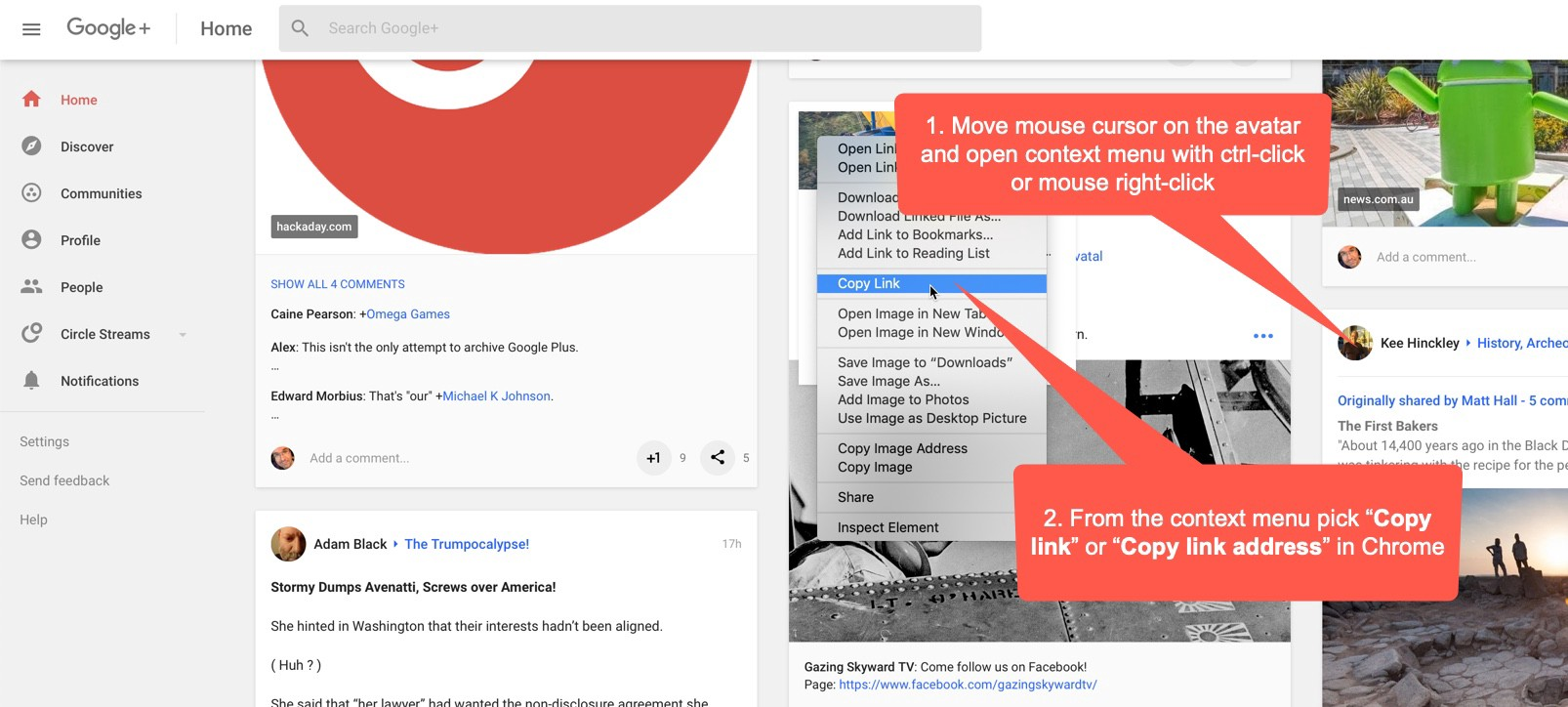 Where to get Google+ community, profile or page URL?