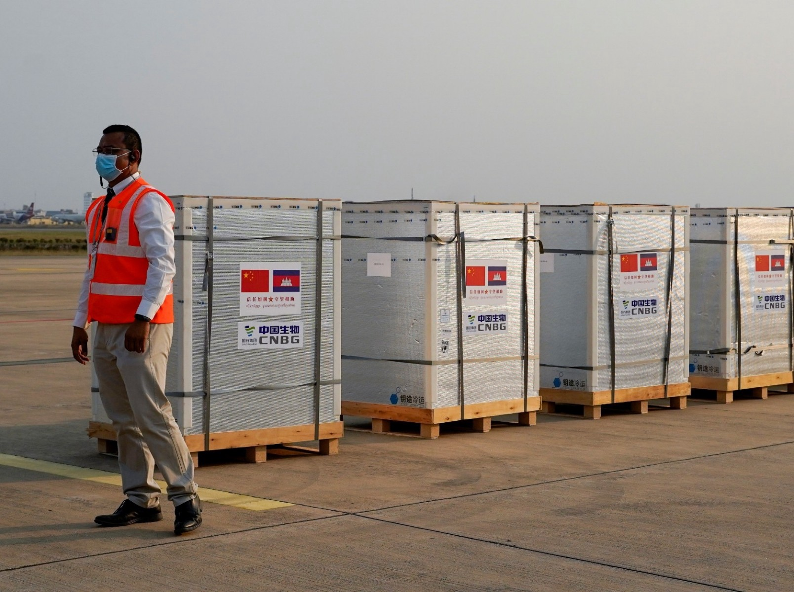 COVID-19 vaccines donated by China at the Phnom Penh International Airport in Cambodia, February 7, 2021. Photo by Cindy Liu/Reuters