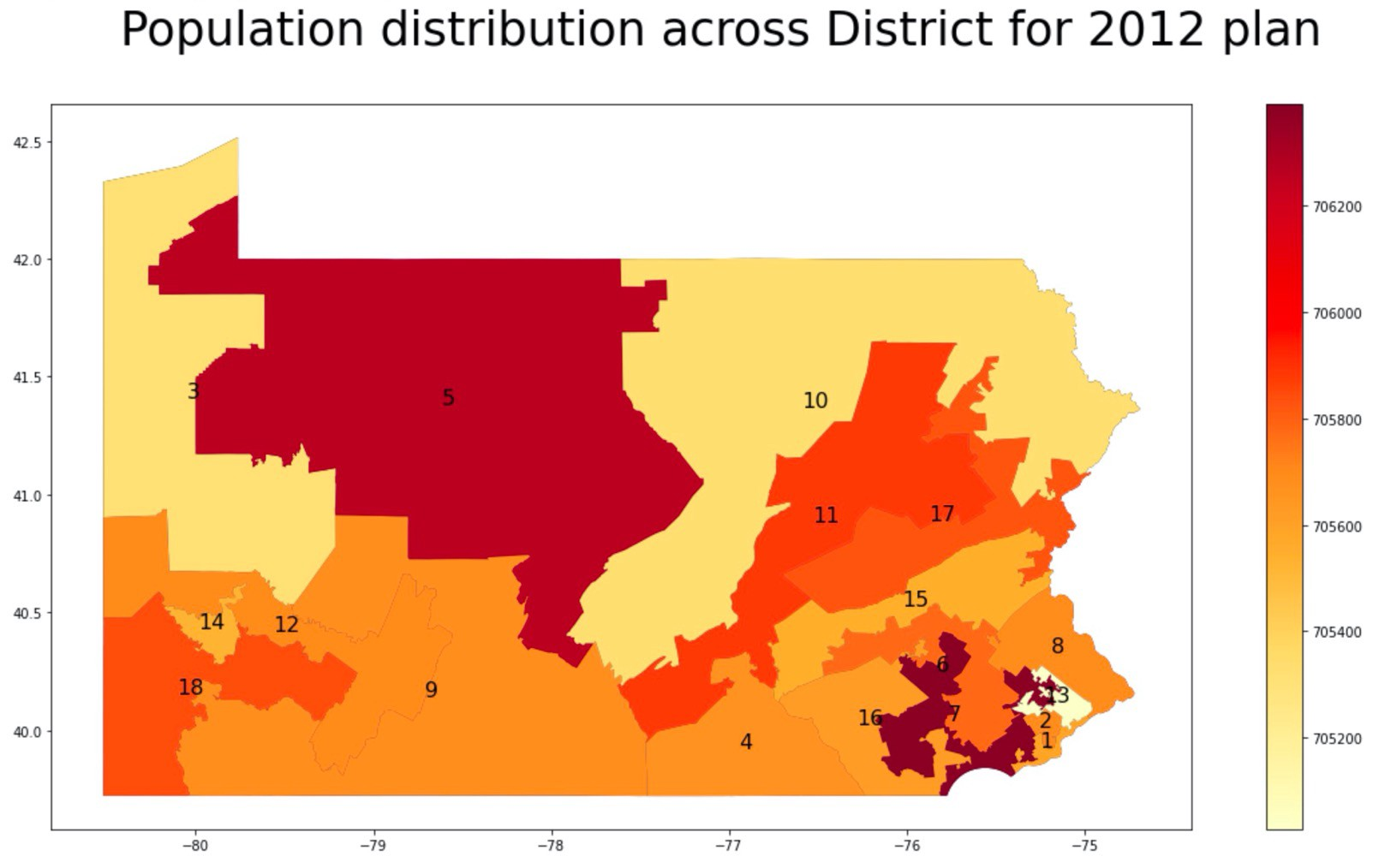 this image shows how population is unevenly distributed across the districts in the 2012 plan.