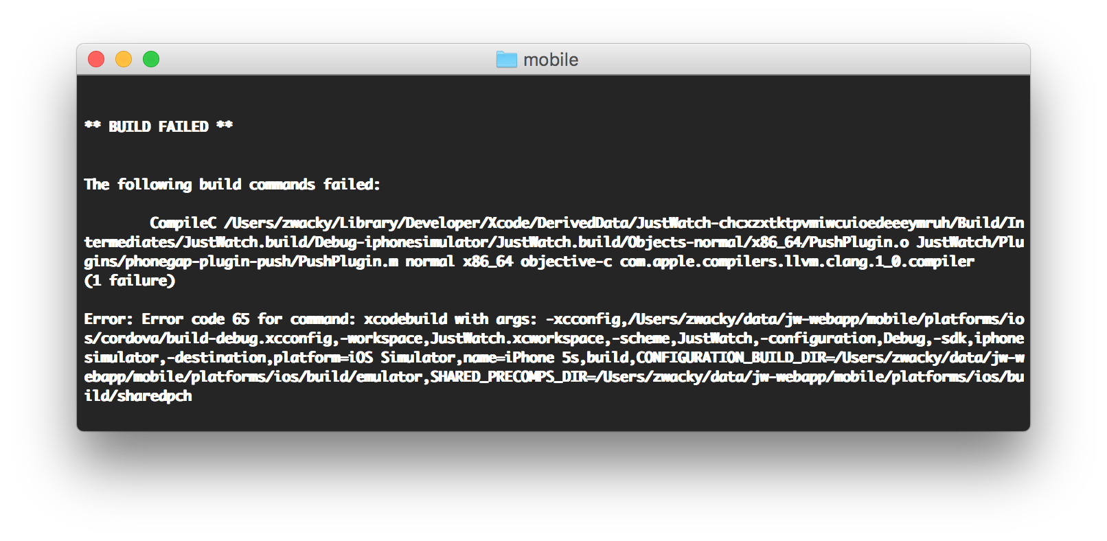 iOS & Android Native Build Errors with Cordova Plugins