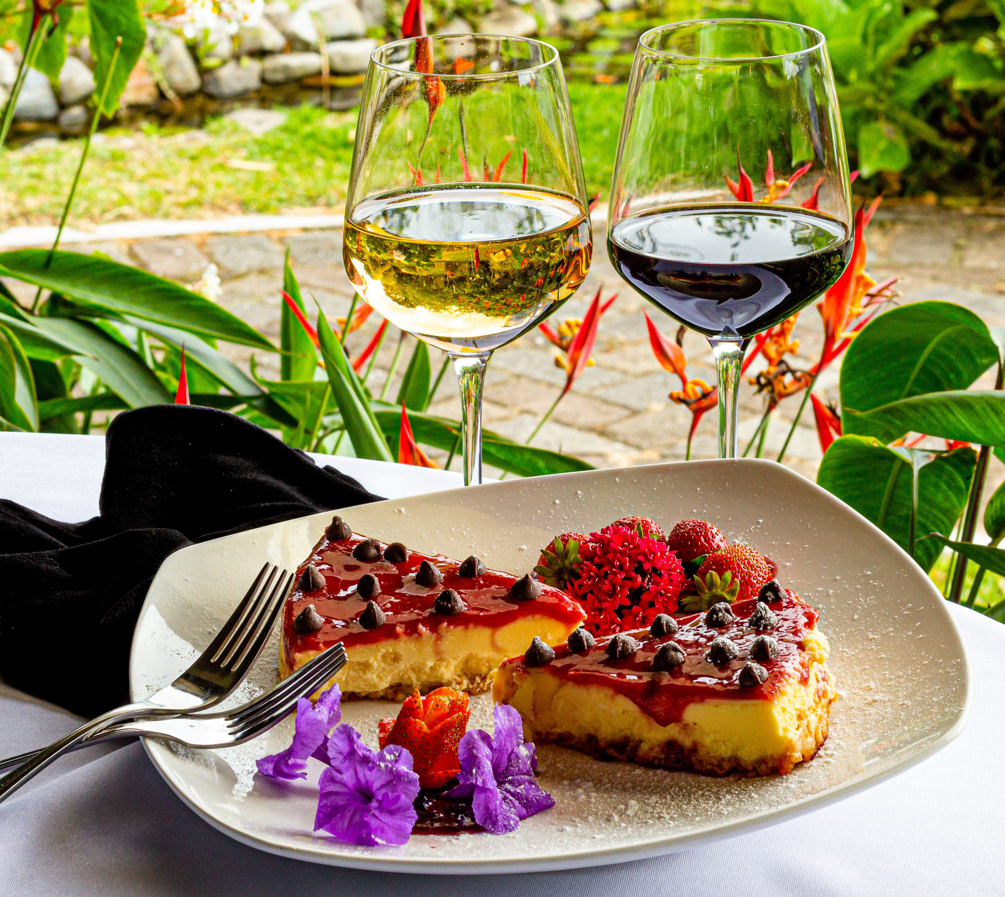 Two slices of cheesecake sit on a plate next to glasses of yellow and red wines.