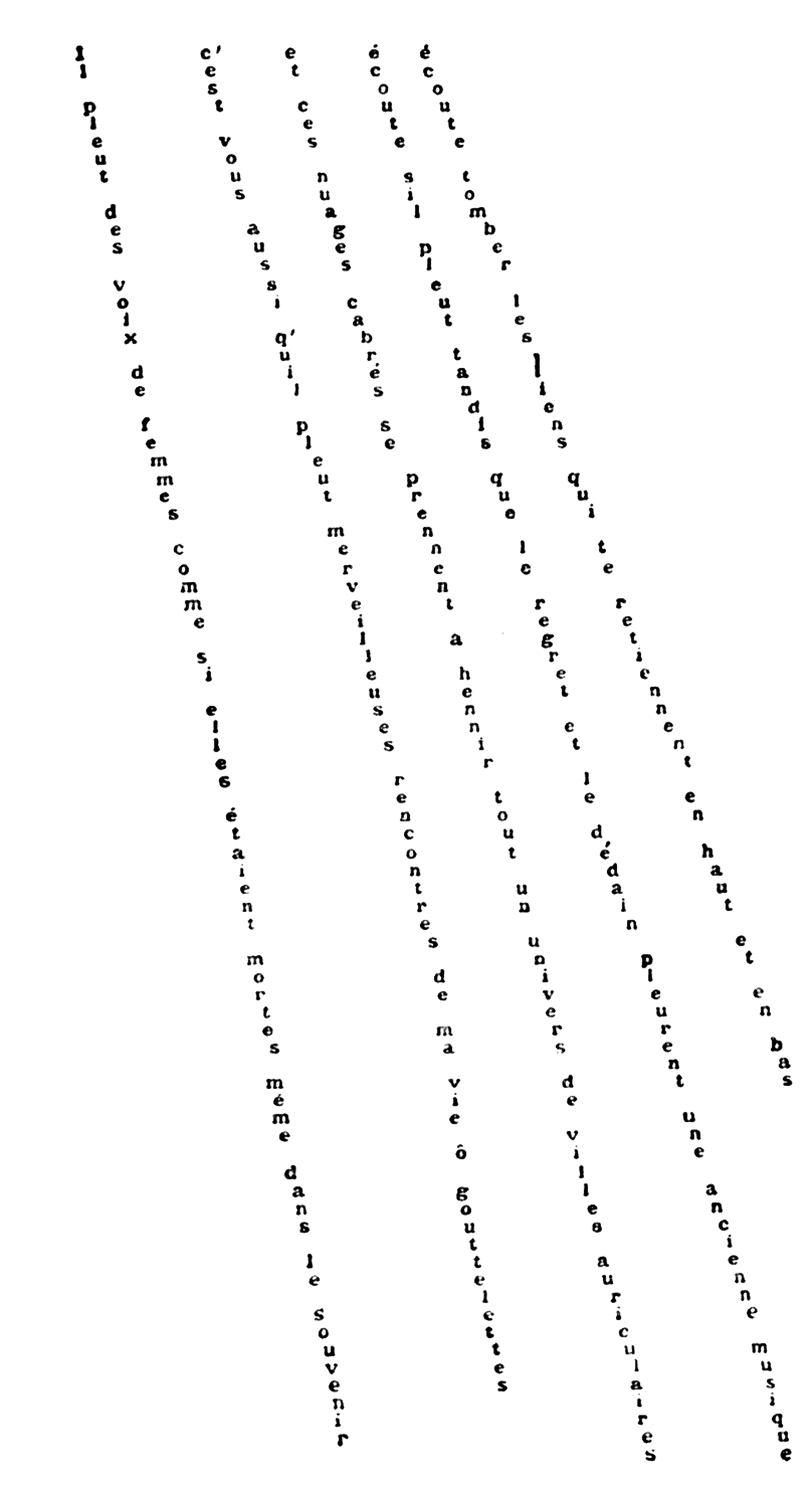 Apollinaire — Il pleut — 1918. Strings of letters travel roughly vertically down the page