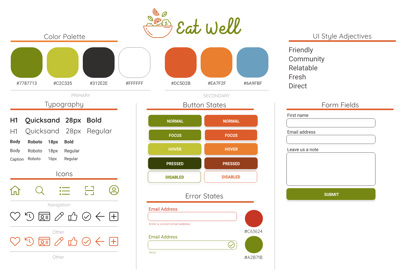 Style Guide—greens with orange accents, friendly fonts