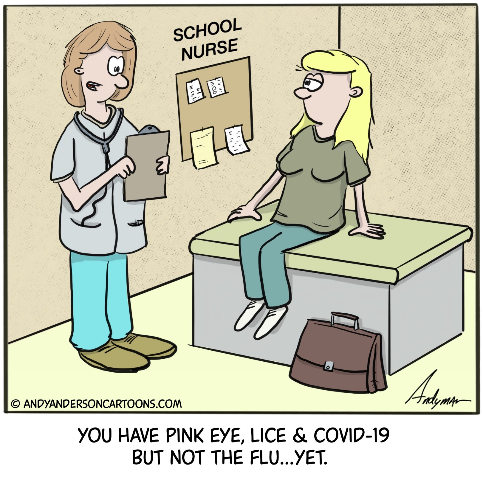 Cartoon about teachers returning to school and getting lice, pink eye and COVID-19 but not the flu—yet.