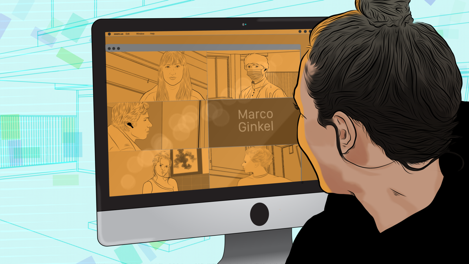 A woman looking into her desktop computer while having a video conference with her coworkers. Illustrated by Alonso Guzmán Barone.