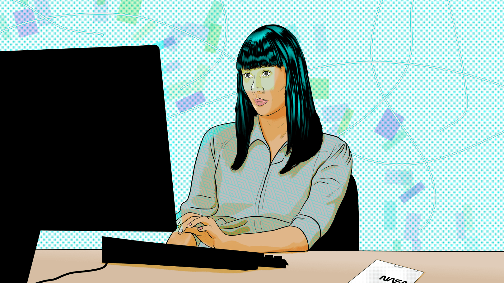 three-quarters profile view of South Korean Woman sitting at her desktop computer while doing research. Illustrated by Alonso Guzmán Barone.