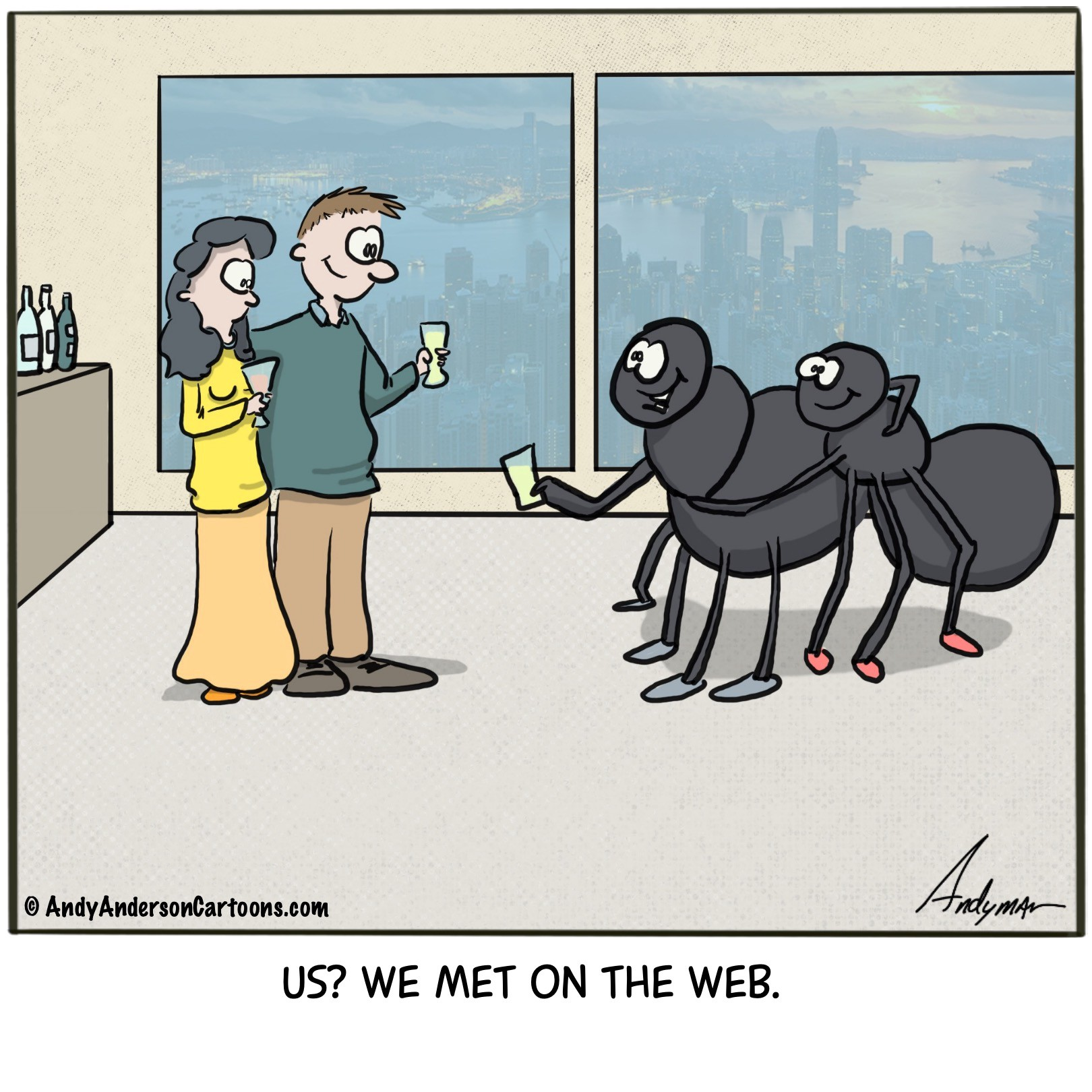 Cartoon about spiders who met on the web by Andy Anderson
