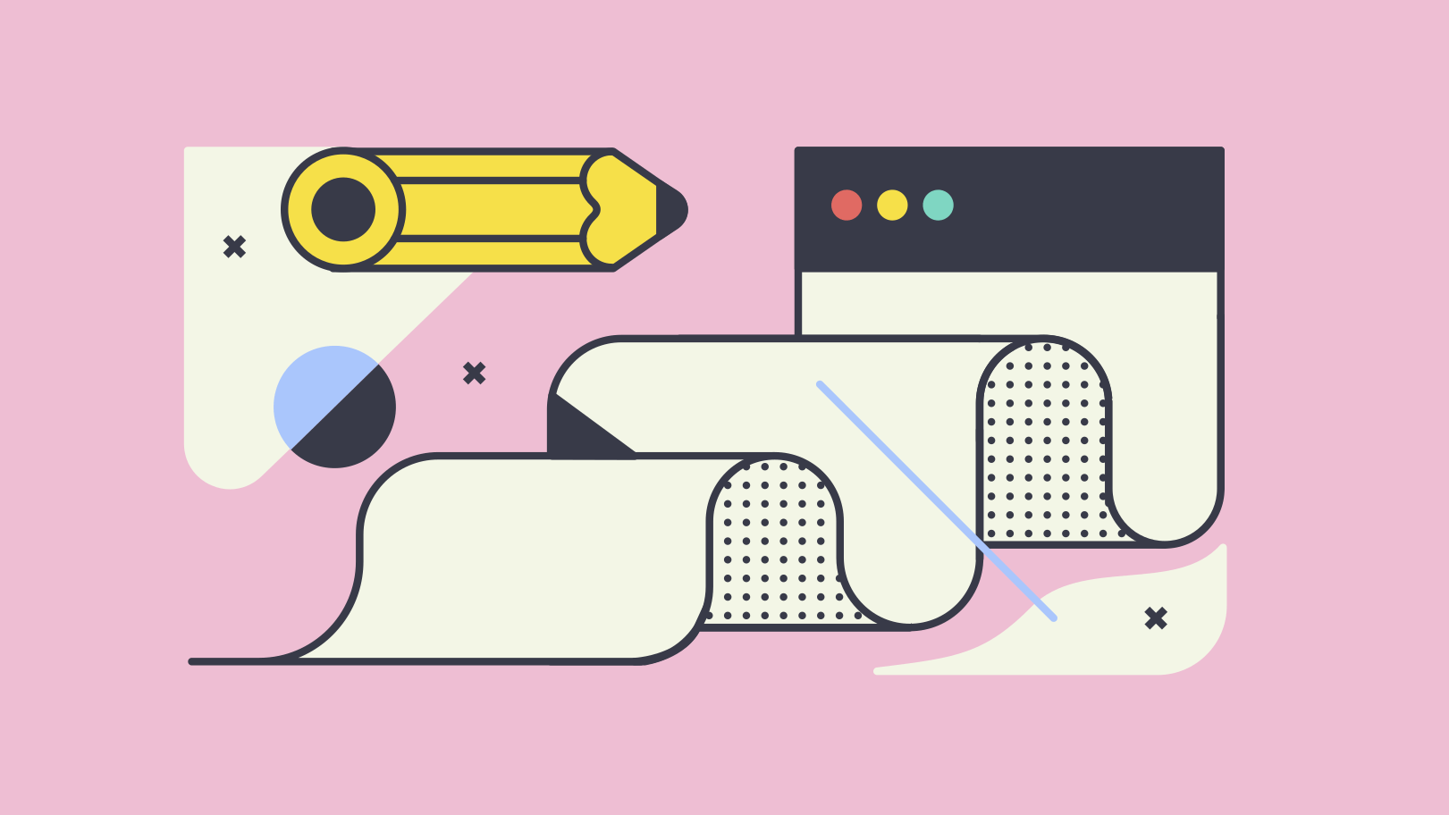 Illustration of a pencil and a browser window.