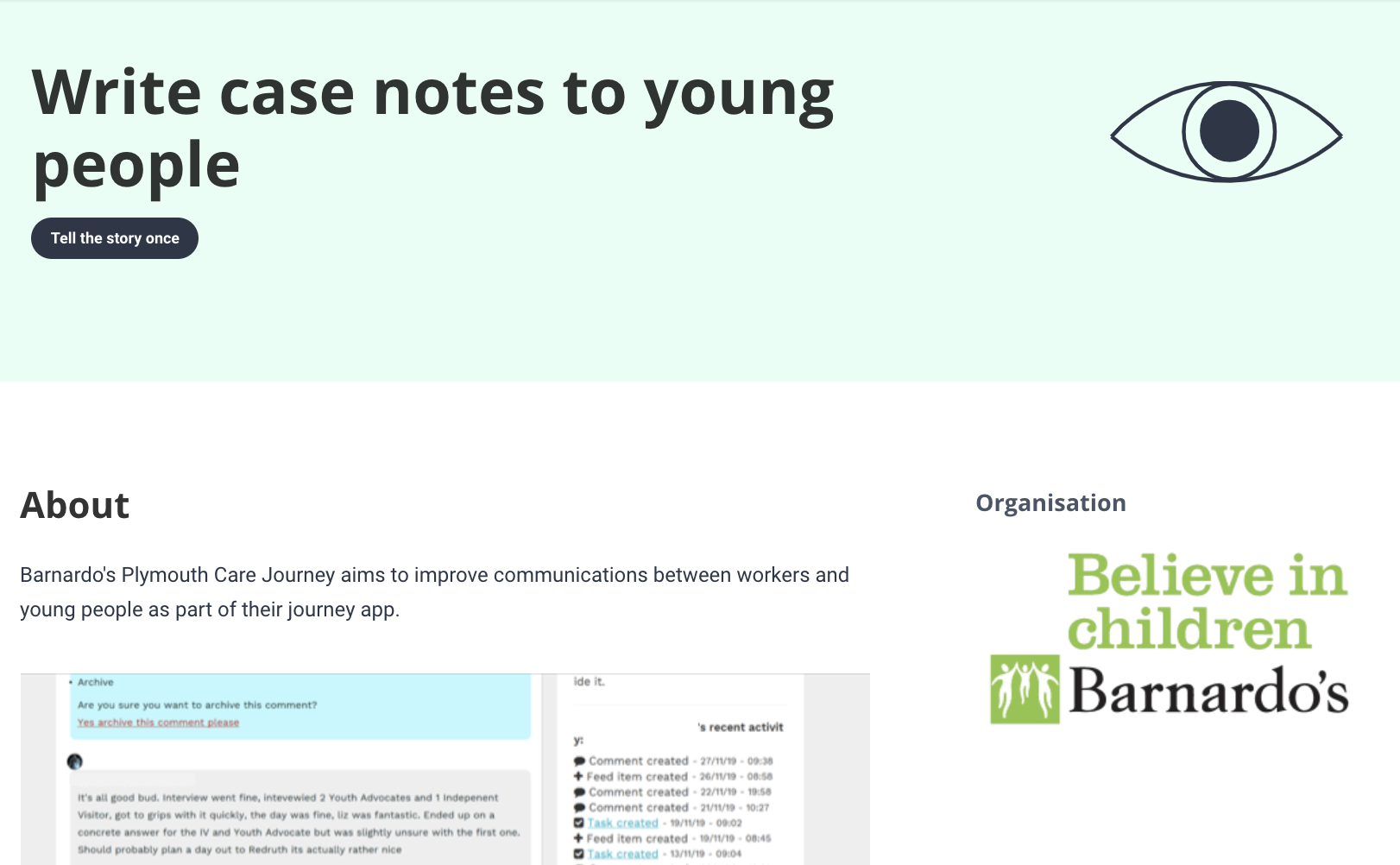 A screengrab showing an example from the Design Patterns for Mental Health library: This one is about writing case notes from Barnardo's work with young people