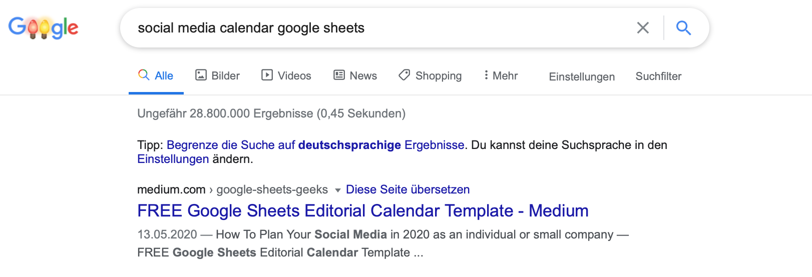 Screenshot of Google search: ranked at first position is my Google Sheets Editorial Calendar Template.
