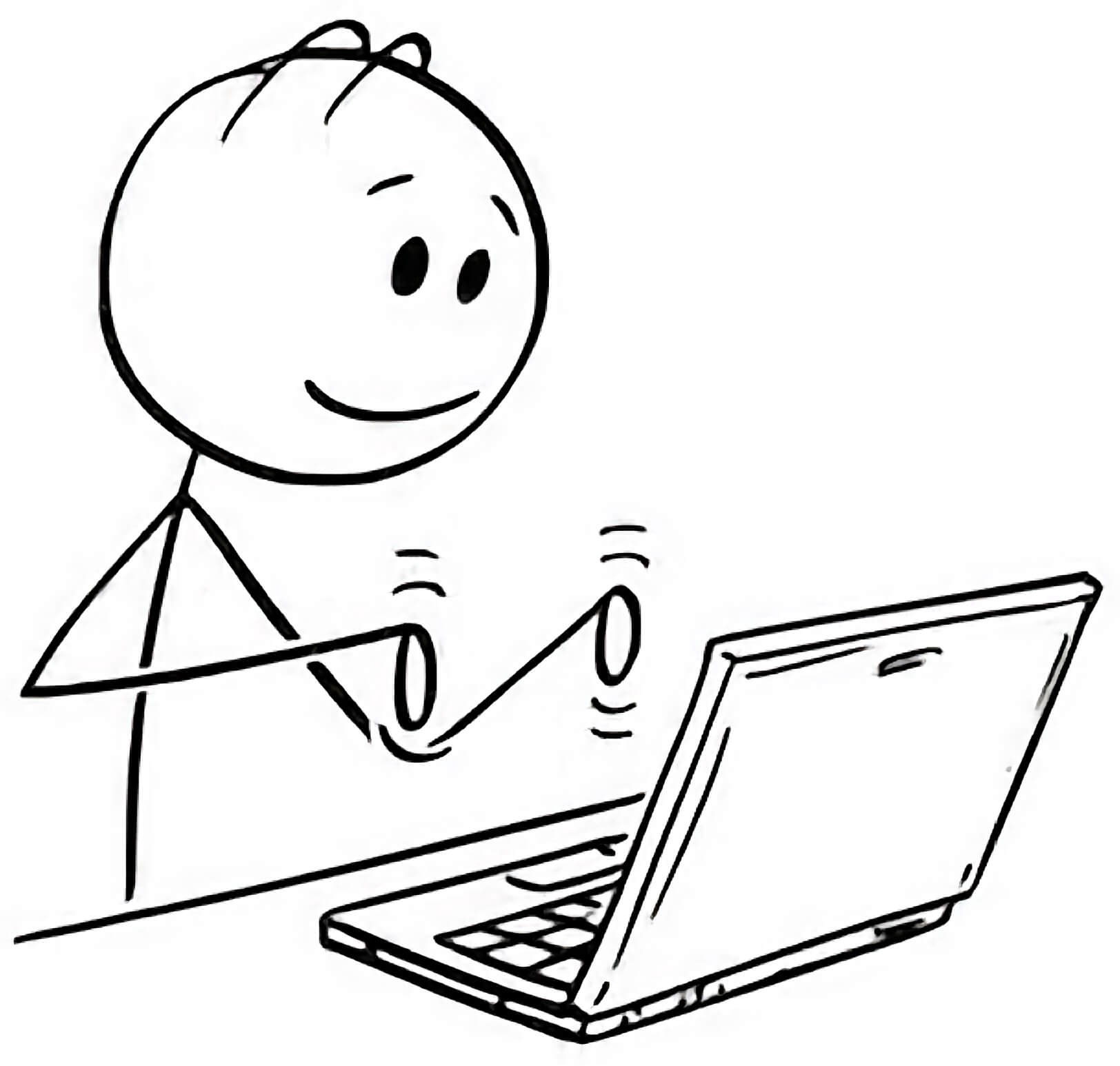 A man working with a laptop