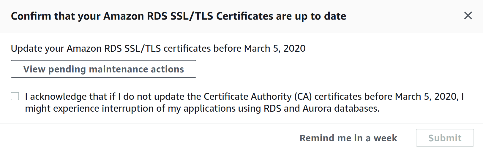 """Screenshot of on-screen alert, titled """"Confirm that your Amazon RDS SSL/TLS Certificates are up to date"""""""