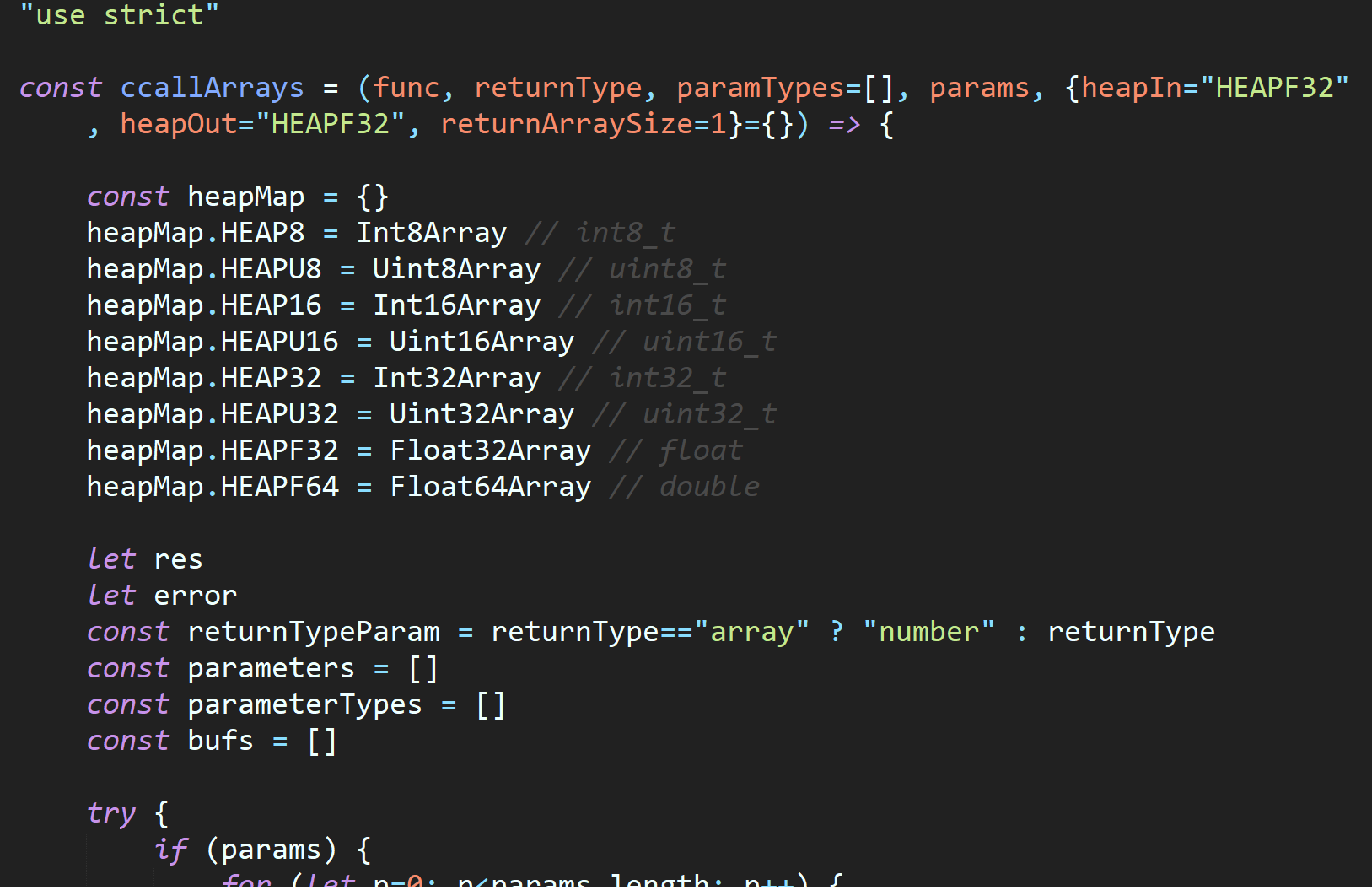 Passing and returning WebAssembly array parameters